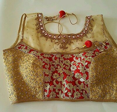 new usa saree choli blouse mirror work embroidered