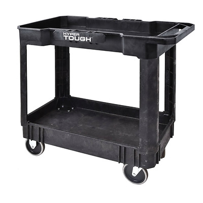 Durable Service Cart Plastic Rubber Casters Rigid Swivel Shelves Black 500lb