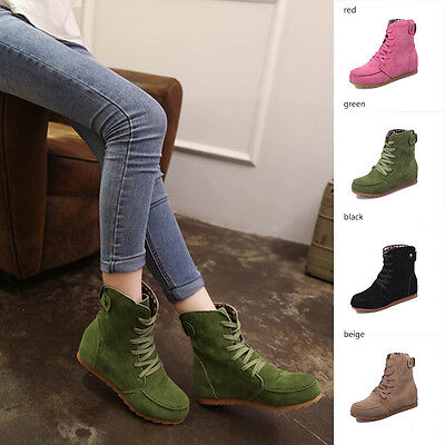 Womens Ankle Lace Up Boots Increase Flat Heel Booties Martin Boots Casual Shoes