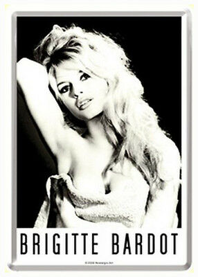 Retro Tin Metal Postcard 'BRIGITTE BARDOT' Mini Sign 10x14cm B/W Portrait Print
