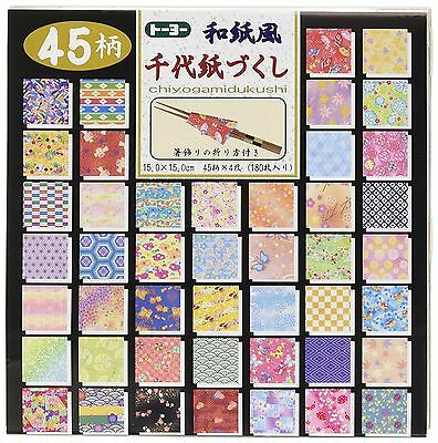 NEW Toyo Origami Paper Chiyogami 15x15cm 45 Design 180 Sheets Japan F/S