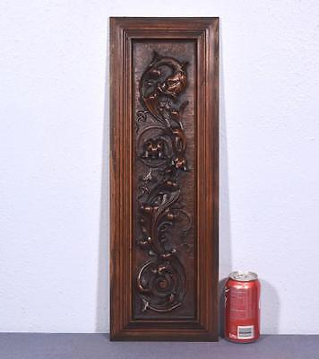 Neogothic French Antique Carved Panel in Walnut Wood with Gargoyle
