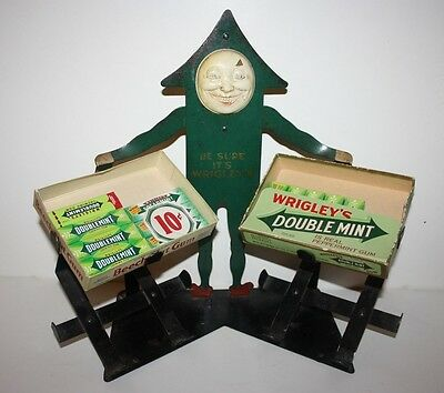 Antique Wrigley Gum Advertising Display Metal Man