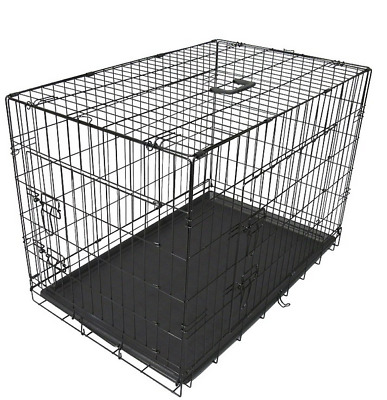 """Foldable Pet Cage Dog Puppy Metal Wire Crate Kennel House 24"""" 30"""" 36"""" 42"""" 48"""""""