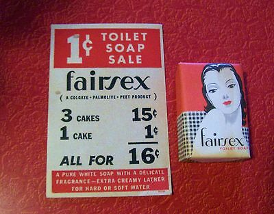 Vintage 1920's 30's Art Deco NEW Old Stock Fairsex Flapper Graphic Soap with Ad!