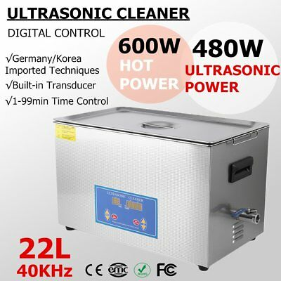 Stainless Steel 22L Liter Industry Ultrasonic Cleaner Heated Heater w/Timer MS