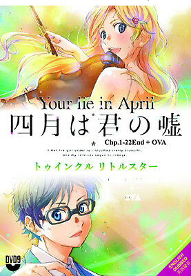 DVD Anime Your Lie In April Vol 1-22 End + OVA Shigatsu wa Kimi English Dubbed