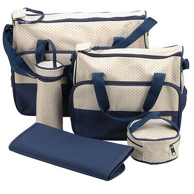 5 PCS Baby Diaper Nappy Changing Bag Set Bags Brand New Blue