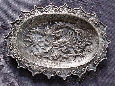 Argent Massif Chinese Export Silver Dragon Coupelle