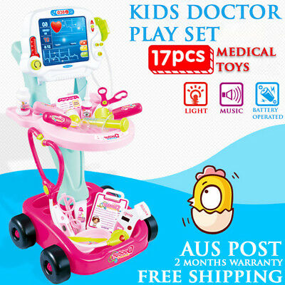 NEW 2017 Pretend Play Kids Educational Doctor Kit Medical Set Supplies Toy Pink