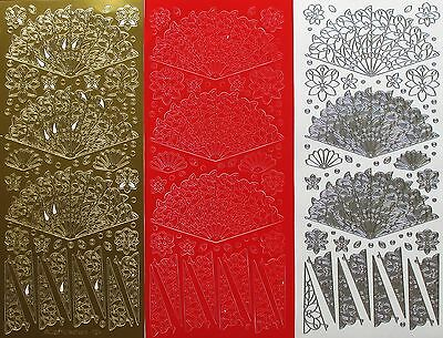 Oriental Fans Japanese Flowers Dots PEEL OFF STICKERS Filigree Cardmaking