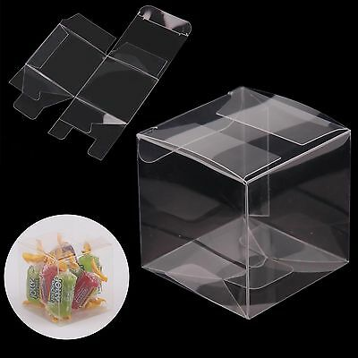 50/100/200 Wedding Favor Box Sweet Transparent PVC Cube Cake Gift Candy Bags
