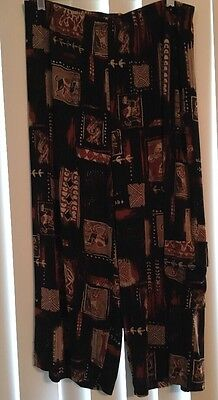 Chico's Travelers Black Print Cropped Pant With Cargo Pocket, Size 3