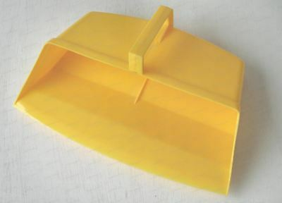 Yellow Colour Coded Food Hygiene Hooded Dustpan Strong Plastic Closed Dust Pan
