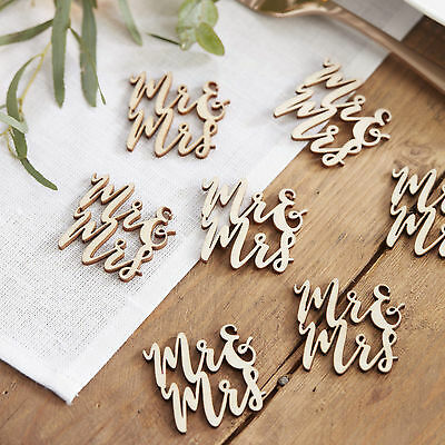 MR & MRS WOODEN Vintage Table CONFETTI Wedding Decoration Party Script Font Word