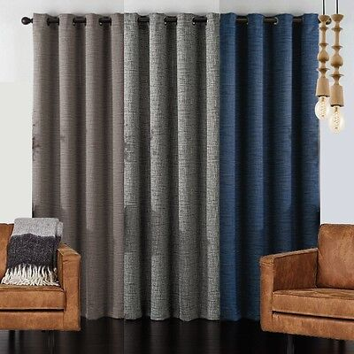 Textured Blackout Thermal Insulated Eyelet Curtain Panel Room Darkening Blockout