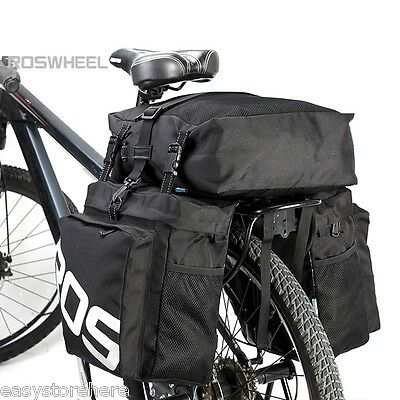 HOT Roswheel 37L Water Resistant Durable 3 in 1 Bicycle Rear Pannier Bag