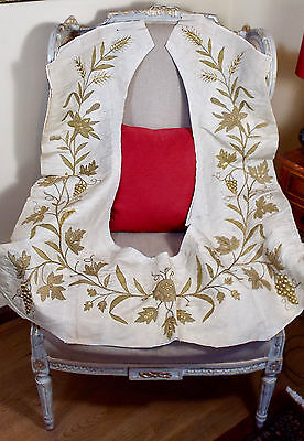 Antique French Gold Metallic Embroidery Rose Flower Swag  Applique   Re working