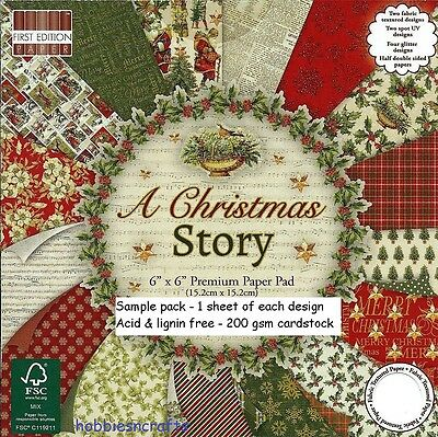 Dovecraft A Christmas Story Papers 6 X 6 Sample Pack  1 Of Each Design 16 Sheets