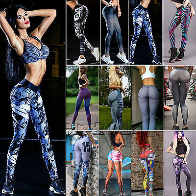 Women's YOGA Workout Gym Printed Sports Pants Leggings Fitness Stretch Trousers