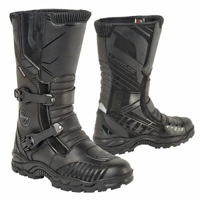Akito Latitude Leather Waterproof Adventure Motorcycle Boots Enduro Black