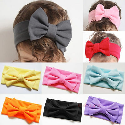 New Girls Kids Baby Soft Bow Hairband Headband Stretch Turban Knot Head Wrap