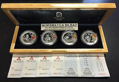 CHINA 4 coins 10 YUAN 2008 SILVER PROOF BEIJING OLYMPIC MINT SET 1 ONZA OZ OUNCE