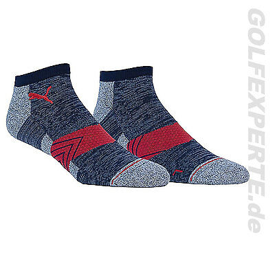Puma Golf Herren Socken Gt Gradient Chevron Low Cut Peacoat-Quarry-High Risk Red