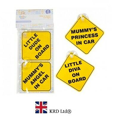 2 Pcs BABY CAR SIGNS Baby Girl Boy Child On Board Non Personalized Car Sign UK