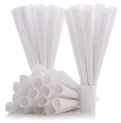 100 Count Cotton Candy Floss Paper Cones Stick Holder Wands Kit Refill Box Party