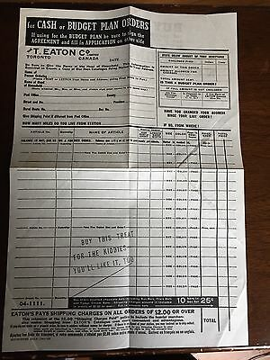 The T Eaton Company Limited, Toronto, Order Form 1941-42