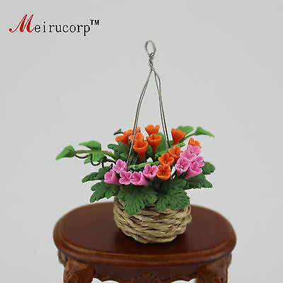 Dollhouse 1:12 Scale Miniature Fine handmade clay flowers Hanging basket 10193