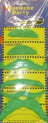70's Irish Stick on Fake Self Adhesive Party Moustache Pack of 6 Green Assorted