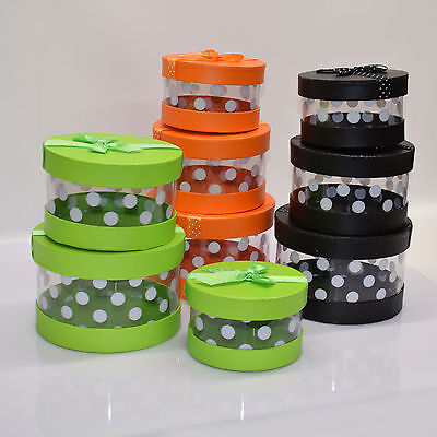 Set Of 3 Party, Wedding Round Clear Gift Boxes With Polka Dots Design, ( Purim )
