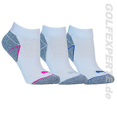 Puma Golf Damen Socken Pounce Quarter Crew 3 Pair Dreierpack White Weiß