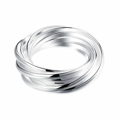 925 Silver Plt Nine Interwoven Infinity Band Ring Tails Multi Thumb Woven A