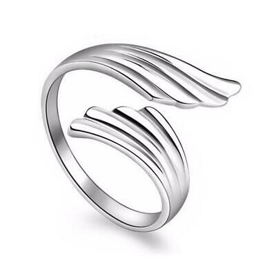925 Silver Plt Adjustable Open Angel Wing Feather Ring Thumb Bird Ladies A