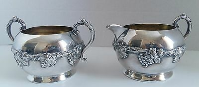 Vintage Silver Creamer And Sugar Majestic Old English Reproduction Silverplate