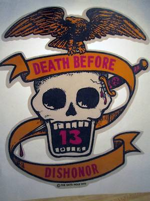 NOS Vintage Iron On Heat Transfer 1975 Biker Skull Death Before Dishoner Eagle