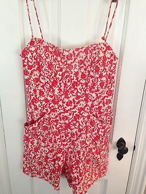 Vintage 1950's Swimsuit Romper Pin Up Handmade Cotton  Rock A Billy Size Small