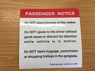 Passengers Must Not Stand Forward Of This Point - Bus Coach Legal Sticker