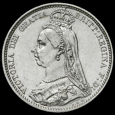 1888 Queen Victoria Jubilee Head Silver Sixpence, EF