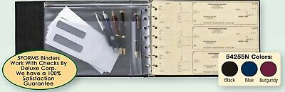 7 Ring 3 on- a-Page Business Check Book Binder Vinyl Pouch Office Supplies BLUE