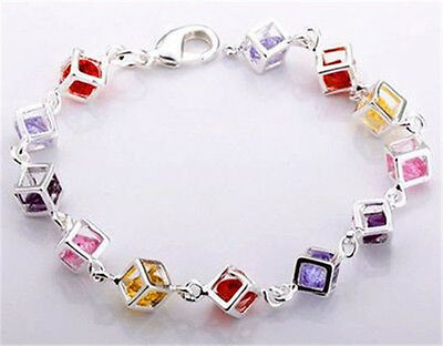 FREE P&P Gril 925Sterling Silver jewelry  Colors Stone bracelet bangle jewellery
