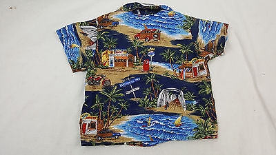 RJC Kids 1T Hawaiian Shirt Boys Blue Brown SS Button Down