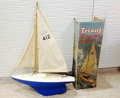 "Vintage Tri-ang 12"" racing yacht 412 Model Pond Boat Plastic Sailing Ship Yacht"