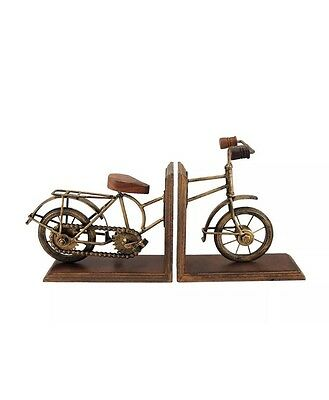 Set of 2 Vintage Bicycle Bike Front and Back Antique Brass Finish Bookends
