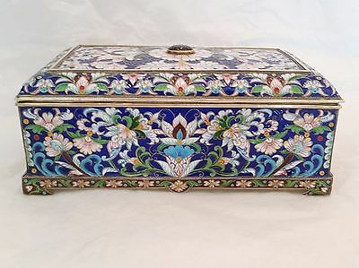 Russian Silver & Enamel Jewelry Box with gemstone on top