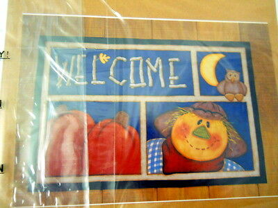Kenna & Donna Designs 20161 Fall Floorcloth Pattern Welcome Pumpkin Scarecrow