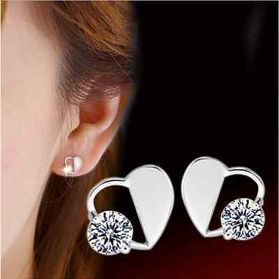 925 Sterling Silver Crystal Heart Earrings Ear Stud Women's Fashion Jewelry Gift